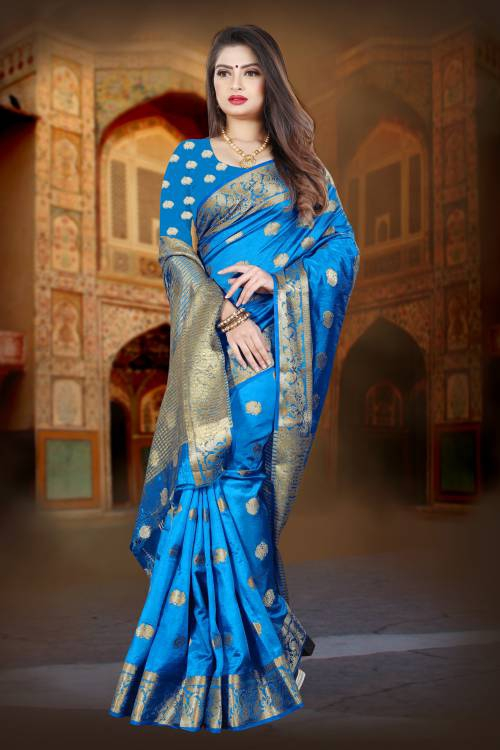 Blue Silk Blend Woven Zari Work Saree With Unstitched Blouse Piece