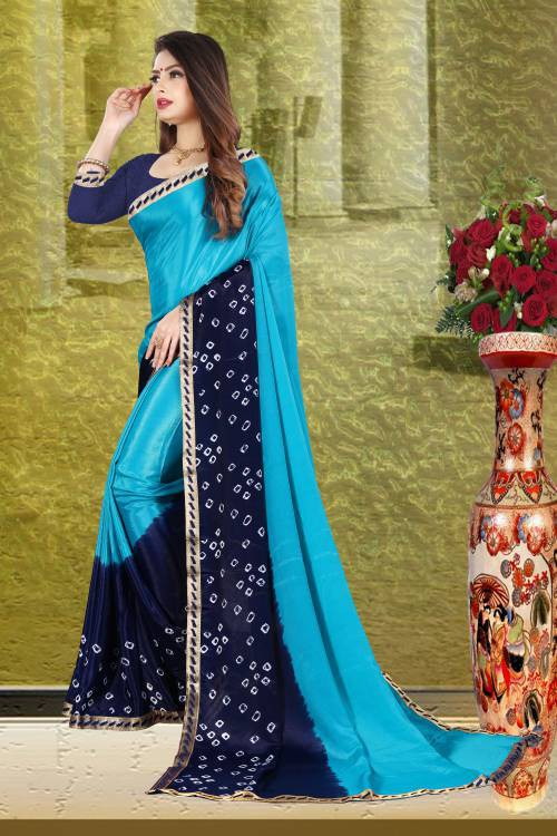 Blue Silk Blend Printed Bandhani Saree With Unstitched Blouse Piece