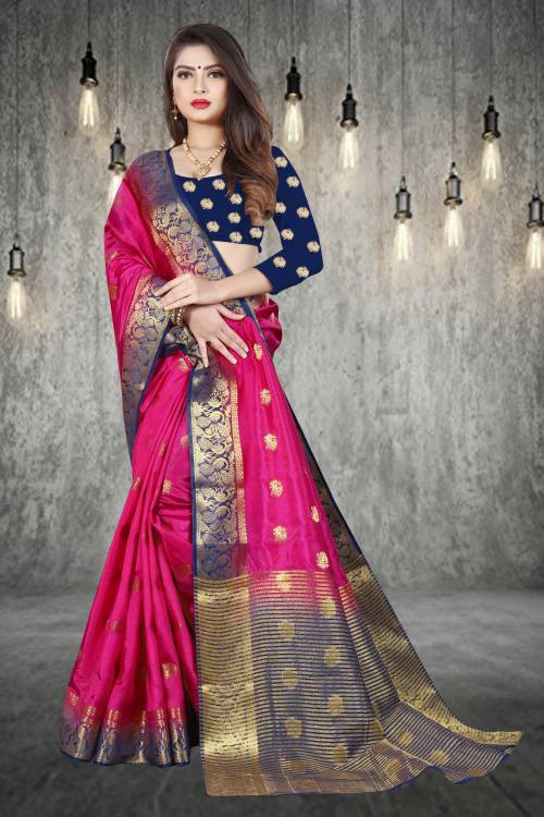 Pink Silk Blend Woven Zari Work Saree With Unstitched Blouse Piece