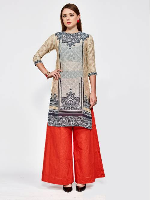 Beige Linen Printed Knee Length Straight Kurti
