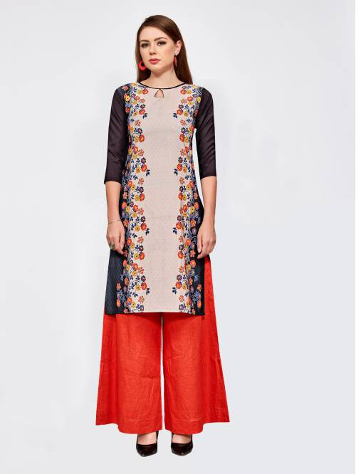 Beige Crepe Printed Knee Length Straight Kurti