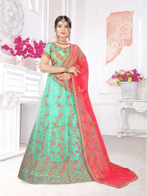 Craftsvilla Green Organza Embroidered Designer Lehenga Choli