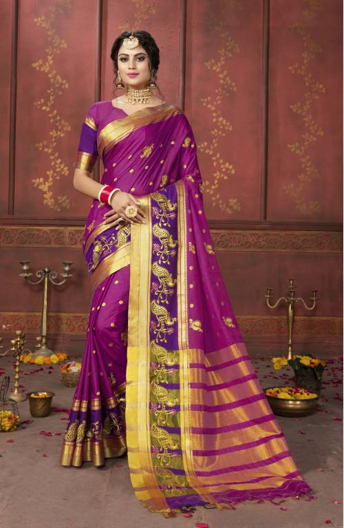 Maroon Cotton Woven Saree With Unstitched Blouse Piece