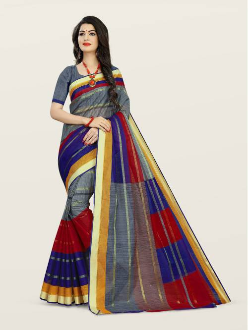 Craftsvilla Grey Cotton Traditional Saree With Unstitched Blouse Material