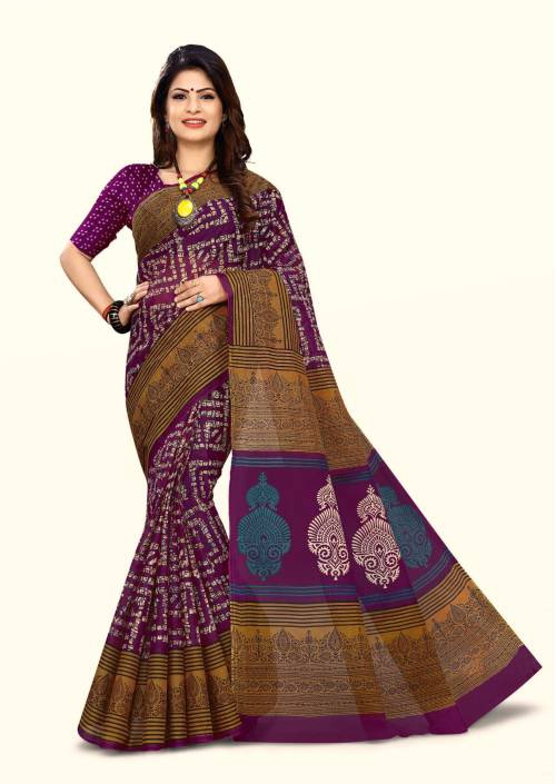 Craftsvilla Violet Cotton Traditional Saree With Unstitched Blouse Material