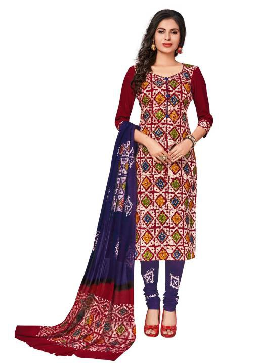 Red Cotton Printed Unstitched Straight Suit