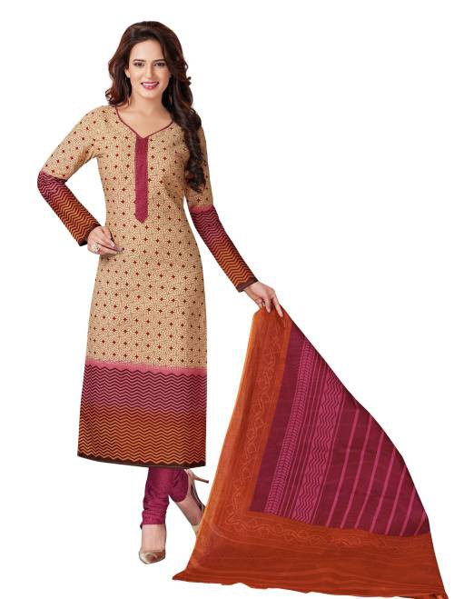 Brown Cotton Printed Unstitched Straight Suit