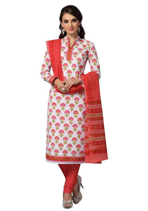Pink Cotton Printed Unstitched Straight Suit