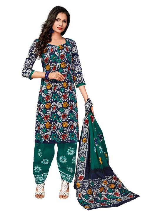 Blue Cotton Printed Unstitched Straight Suit
