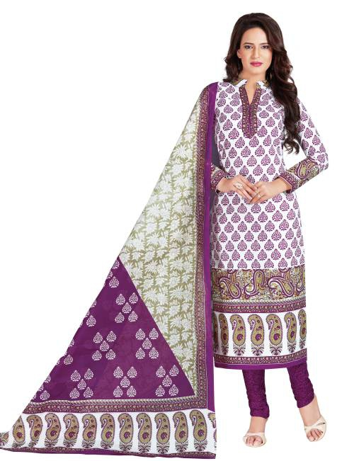 White Cotton Printed Unstitched Straight Suit
