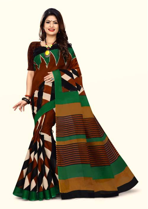 Craftsvilla Brown Cotton Traditional Saree With Unstitched Blouse Material