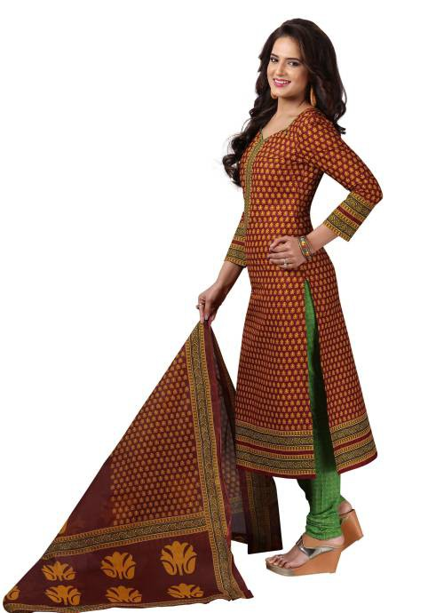 Maroon Cotton Printed Unstitched Straight Suit