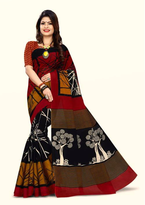 Craftsvilla Red Cotton Traditional Saree With Unstitched Blouse Material