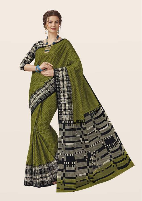 Craftsvilla Green Cotton Traditional Saree With Unstitched Blouse Material