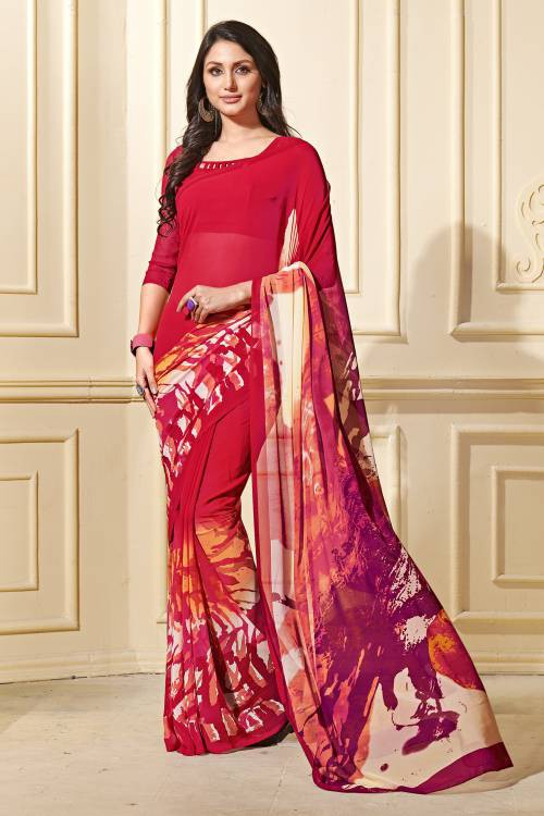 Red Georgette Printed Saree With Unstitched Blouse Material