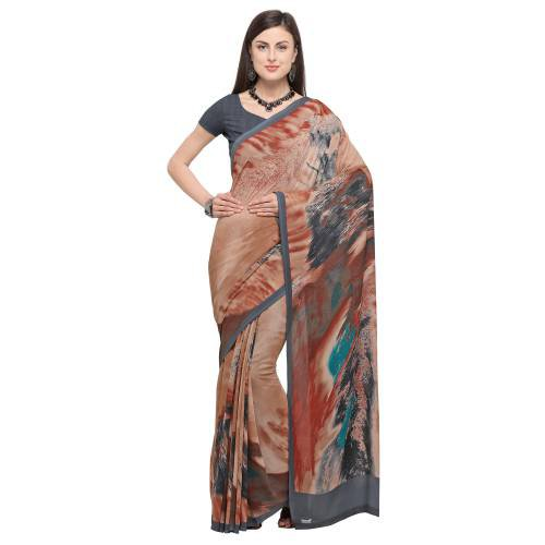Brown Crepe Printed Saree With Blouse Piece