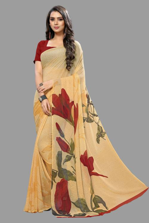 Multicolor Georgette Designer Printed Saree With Unstitched Blouse Material