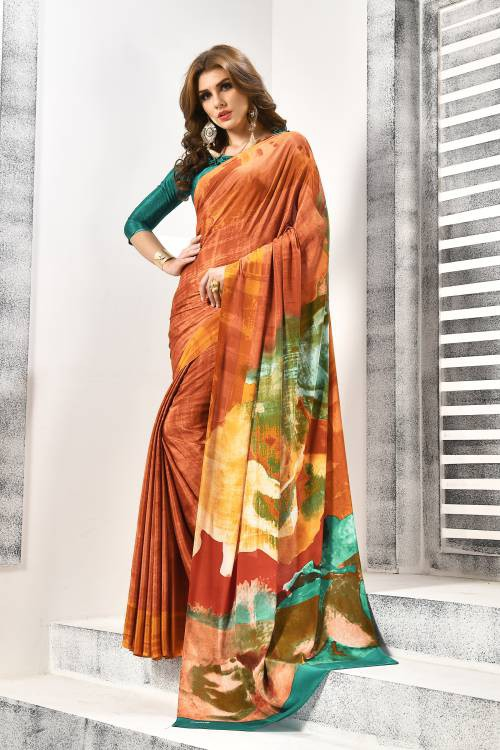 Craftsvilla Brown Crepe Designer Saree With Unstitched Blouse Material