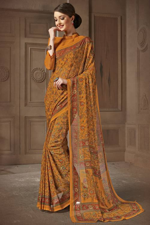 Ochre Chiffon Printed Saree With Unstitched Blouse Material