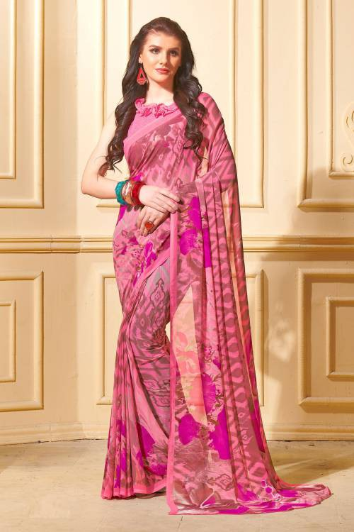 Pink Georgette Digital Printed Saree With Blouse Piece
