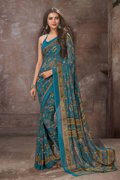 Craftsvilla Blue Crepe Printed Saree With Unstitched Blouse Material