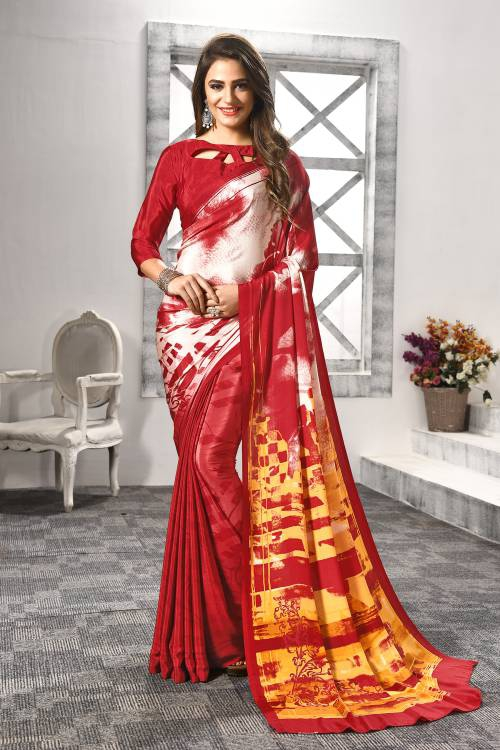 Red Crepe Designer Saree With Unstitched Blouse Material