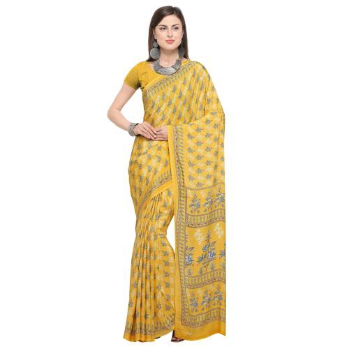 Yellow Crepe Printed Saree With Blouse Piece