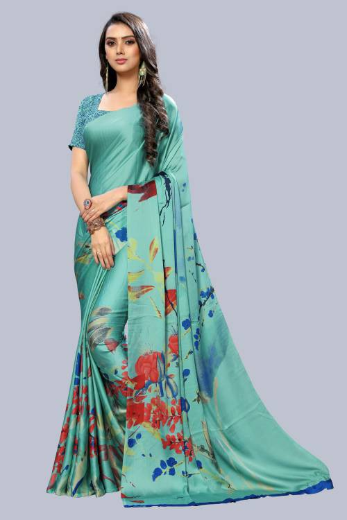 Multicolor Crepe Designer Printed Saree With Unstitched Blouse Material