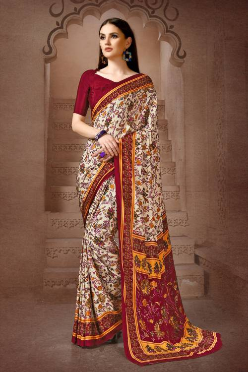 Beige Crepe Printed Saree With Unstitched Blouse Material