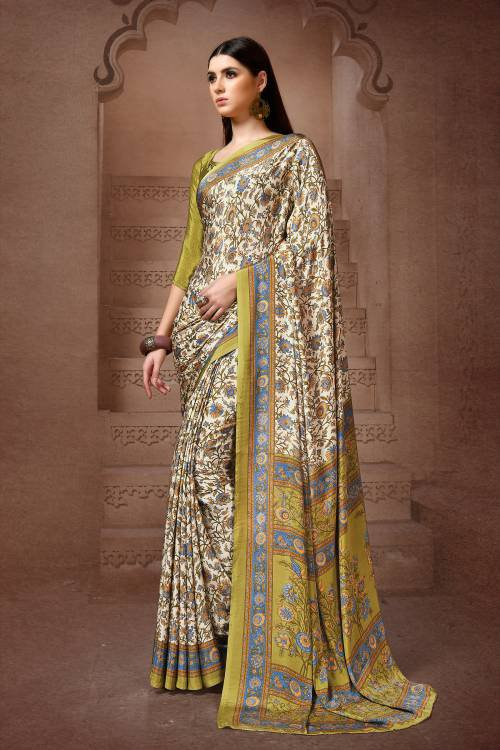 Olive Crepe Digital Printed Saree With Blouse Piece