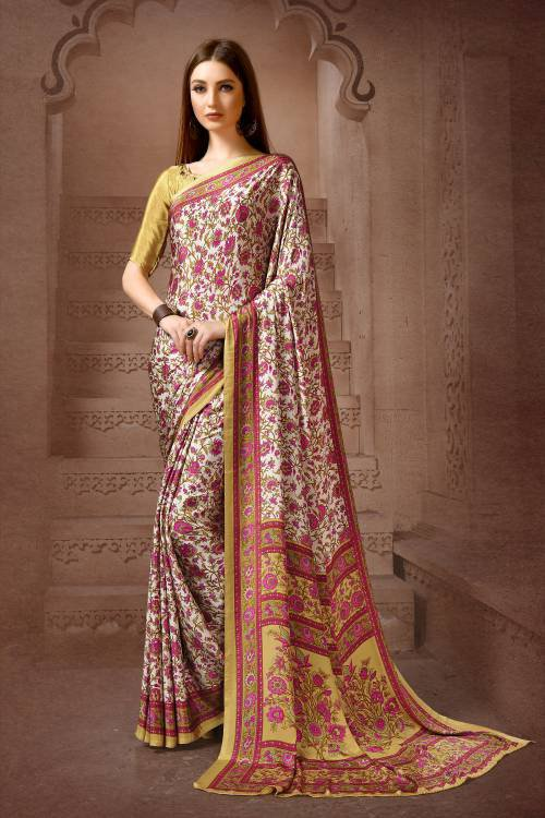 Pink Crepe Digital Printed Saree With Blouse Piece