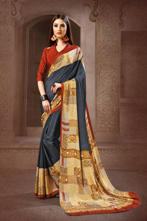 Teal Blue Crepe Printed Saree With Unstitched Blouse Material