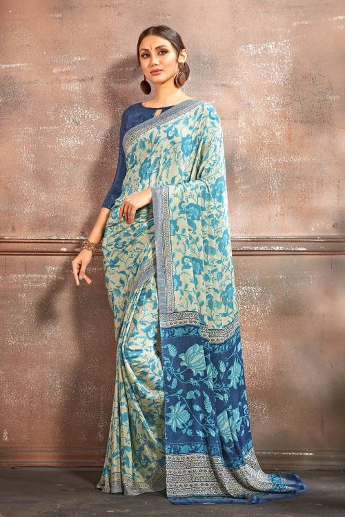 Blue Crepe Printed Saree With Unstitched Blouse Piece