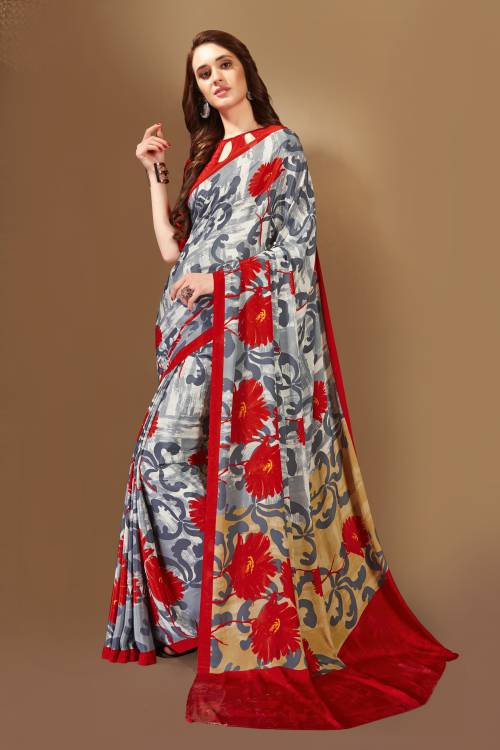 Grey Crepe Printed Saree With Unstitched Blouse Piece