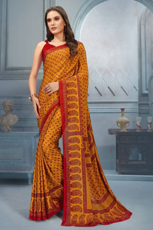 Mustard Crepe Printed Saree With Unstitched Blouse Piece