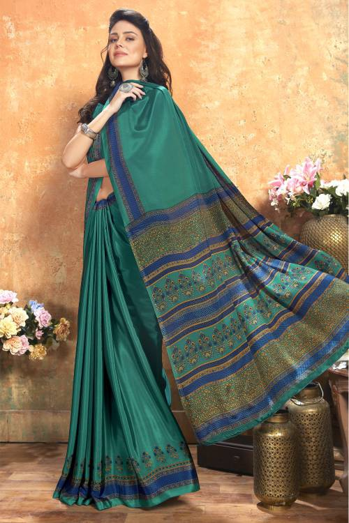 Green Crepe Printed Saree With Blouse Piece