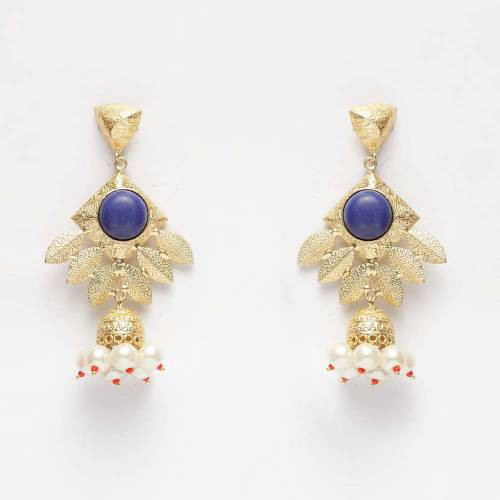 Craftsvilla Yellow Gold Finish Alloy Metal Designer Drop Earrings
