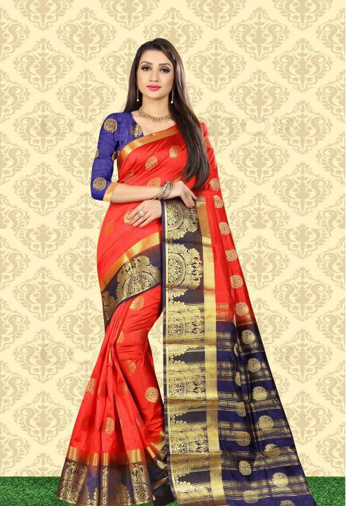 Craftsvilla Red Raw Silk Designer Saree With Unstitched Blouse Material