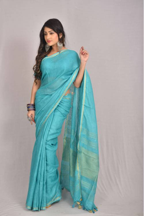 Blue Linen Woven Traditional Saree With Blouse Piece