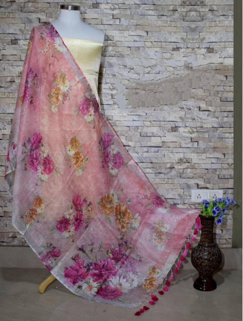 Multicolor Floral Digital Printed Linen Dupatta With Tassels