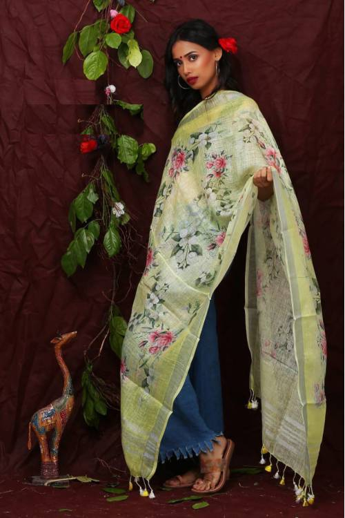 Lime Floral Digital Printed Linen Dupatta With Tassels