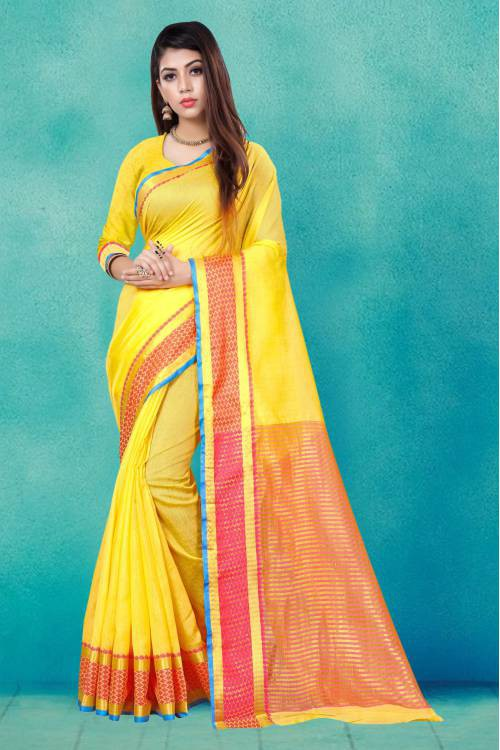 Craftsvilla Yellow Cotton Silk Saree With Unstitched Blouse Material