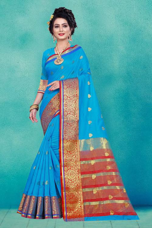 Craftsvilla Teal Blue Cotton Saree With Unstitched Blouse Material