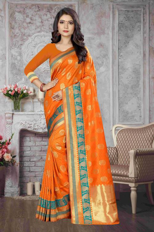 Yellow Kanjivaram Silk Traditional Woven Saree With Unstitched Blouse Material