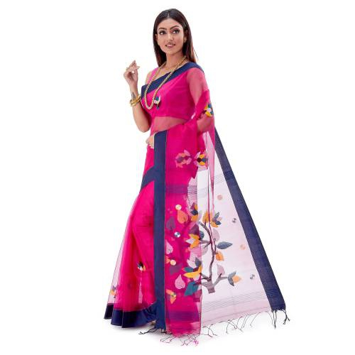 Sarees Of Bengal Handloom Muslin Silk Dhakai Jamdani Pink Saree With Blouse Piece