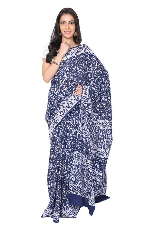 Blue Cotton Traditional Saree With Unstitched Blouse Material