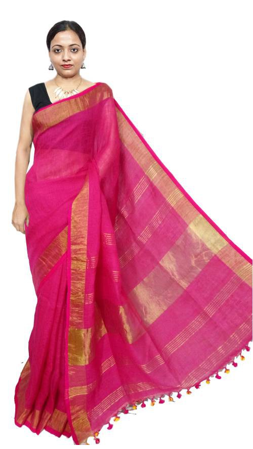 Pink Linen Solid Handwoven Saree With Unstitched Blouse Material