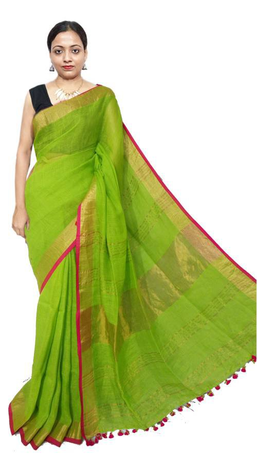 Green Linen Solid Handwoven Saree With Unstitched Blouse Material