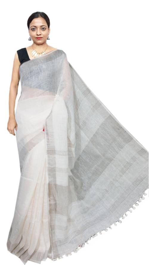 White Linen Solid Handwoven Saree With Unstitched Blouse Material