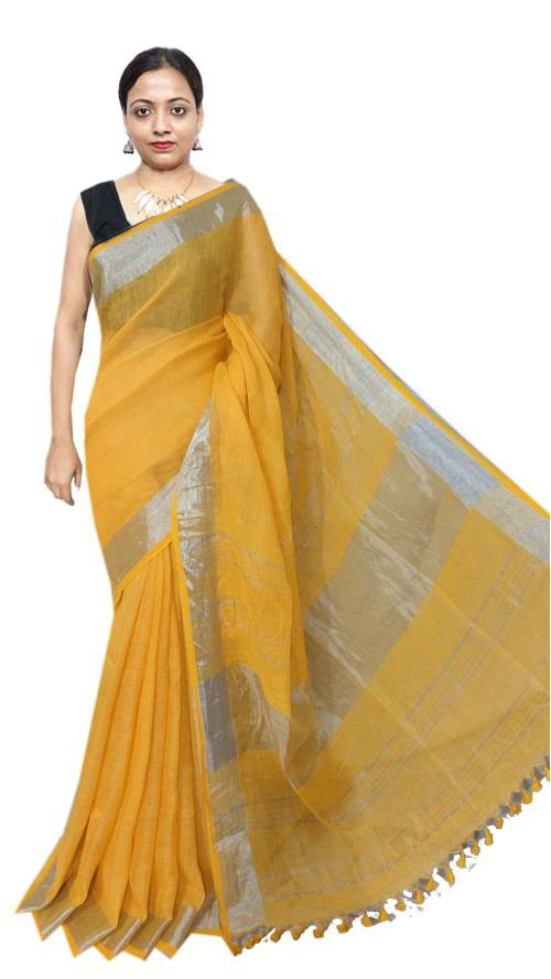 Yellow Linen Solid Handwoven Saree With Unstitched Blouse Material